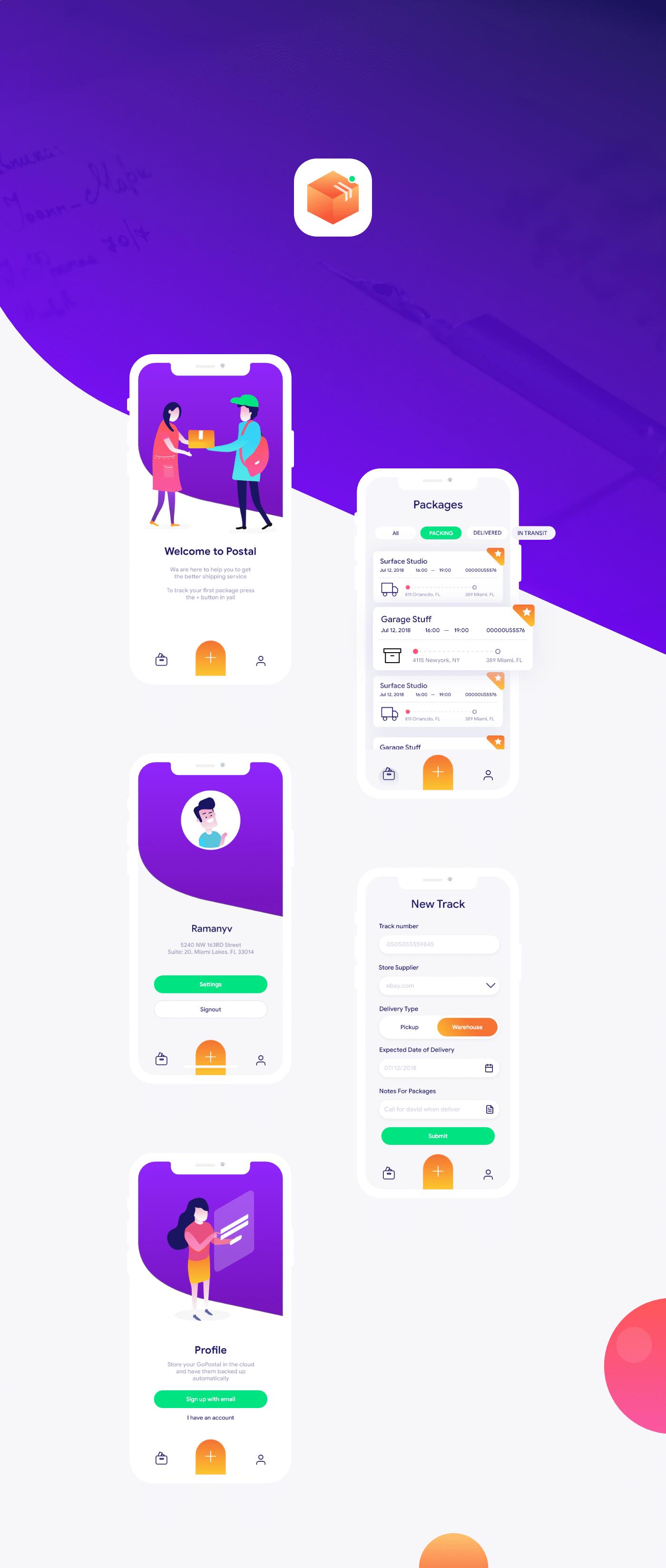 Postal App UI Kit