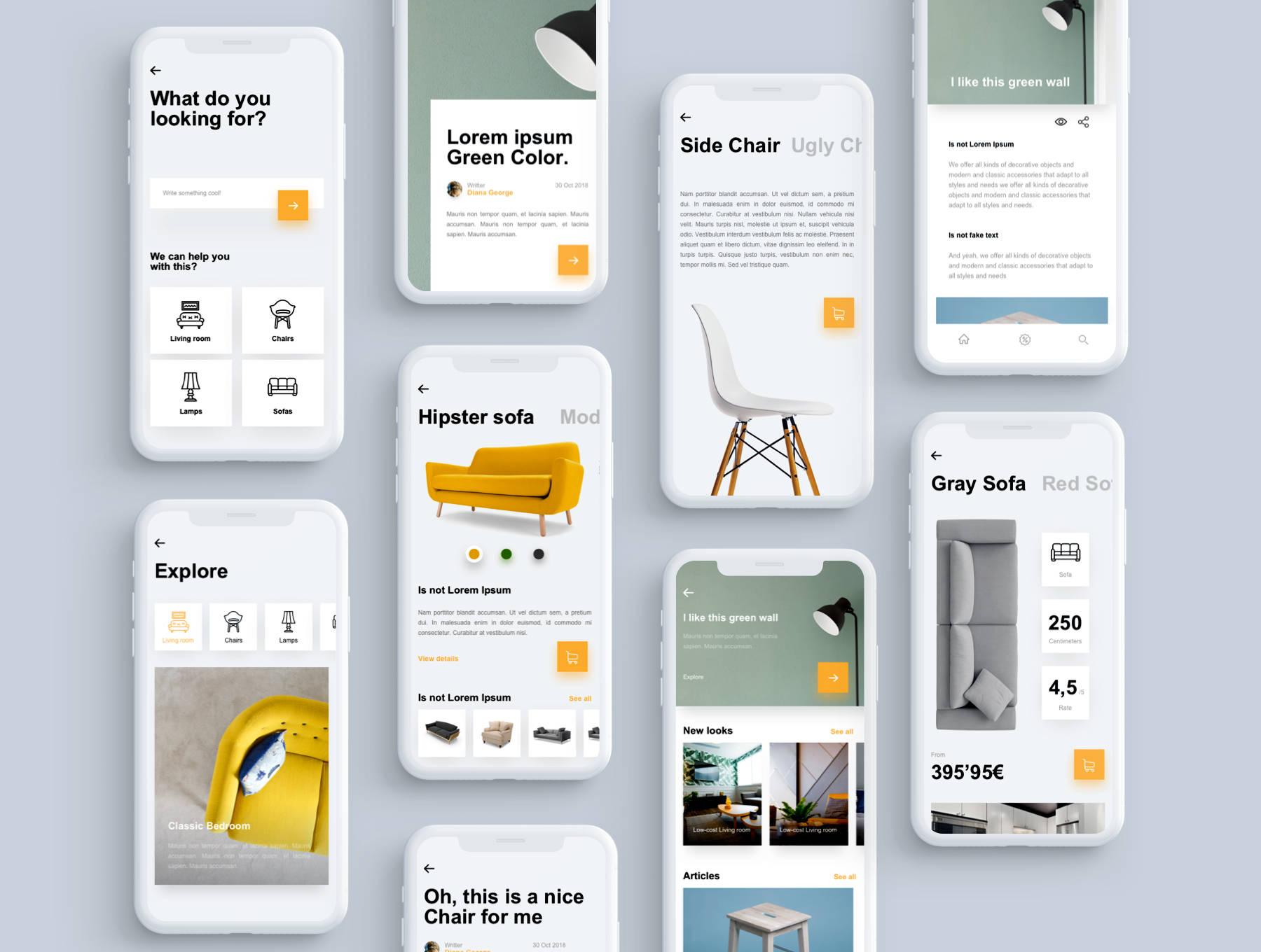 64张全套家具类APP产品UI模板