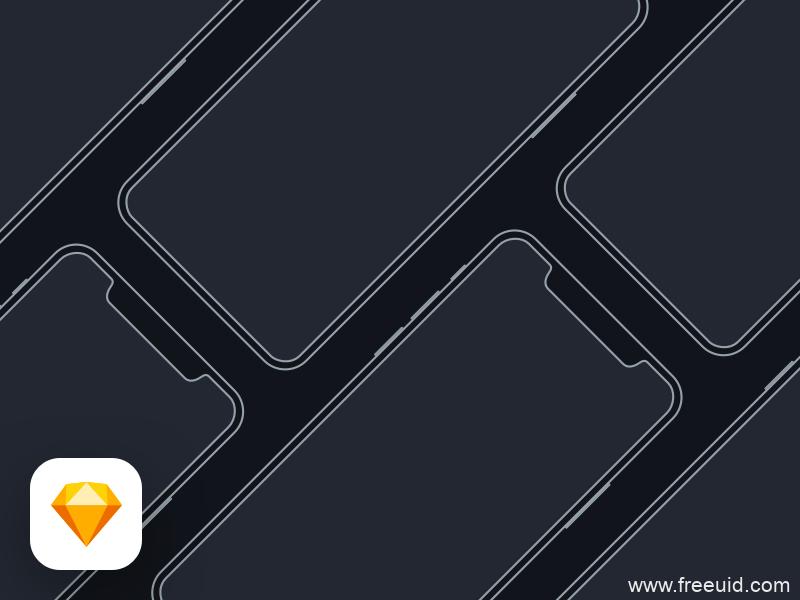 iPhone X Mockup 线型图 sketch素材下载