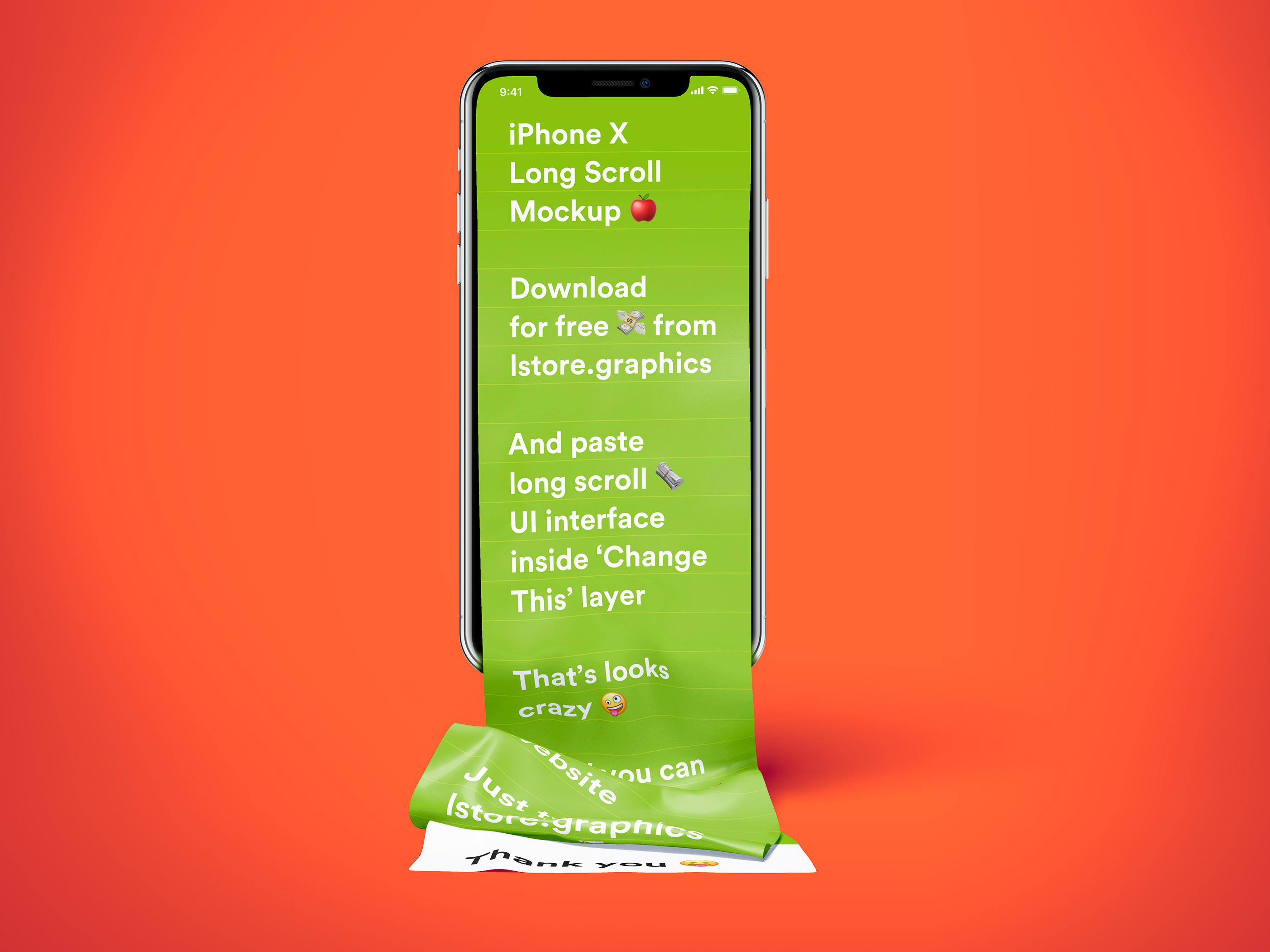 iPhone X长页面包装模板,psd