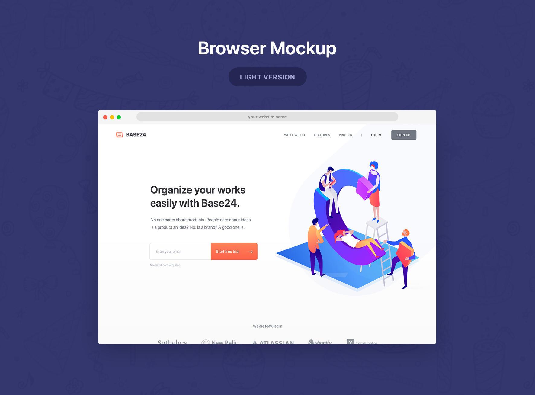 网页浏览器样机模板(psd+sketch)