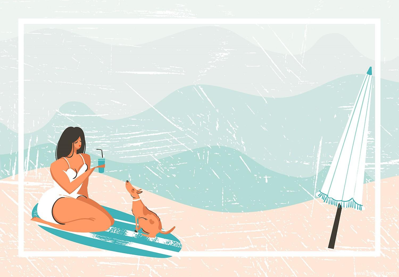 一组夏季海滩主题场景插画,ai源文件