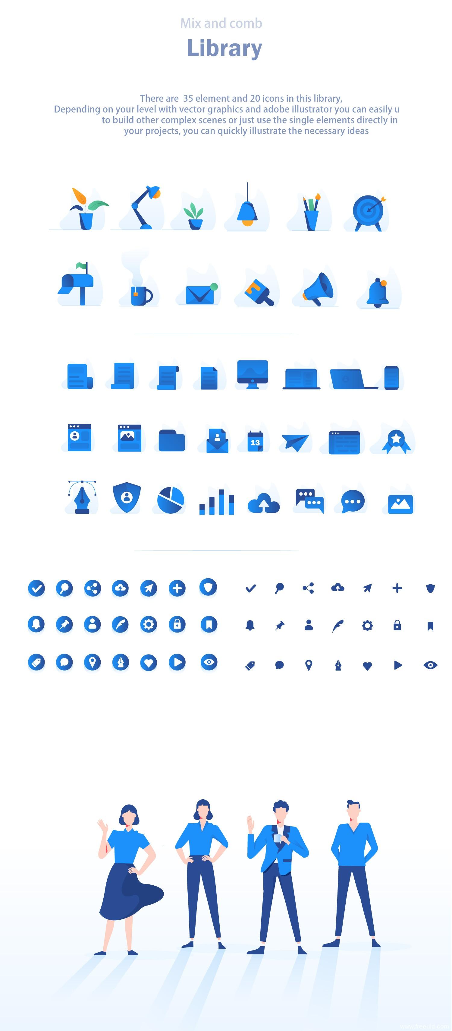 精美商务风24个矢量运营插画素材,AI源文件