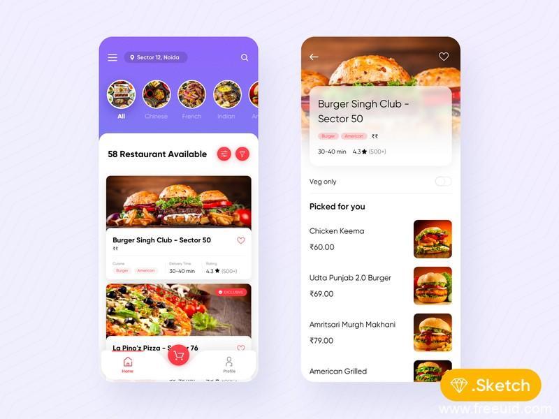 外卖类app ui .sketch素材下载,UI素材下载