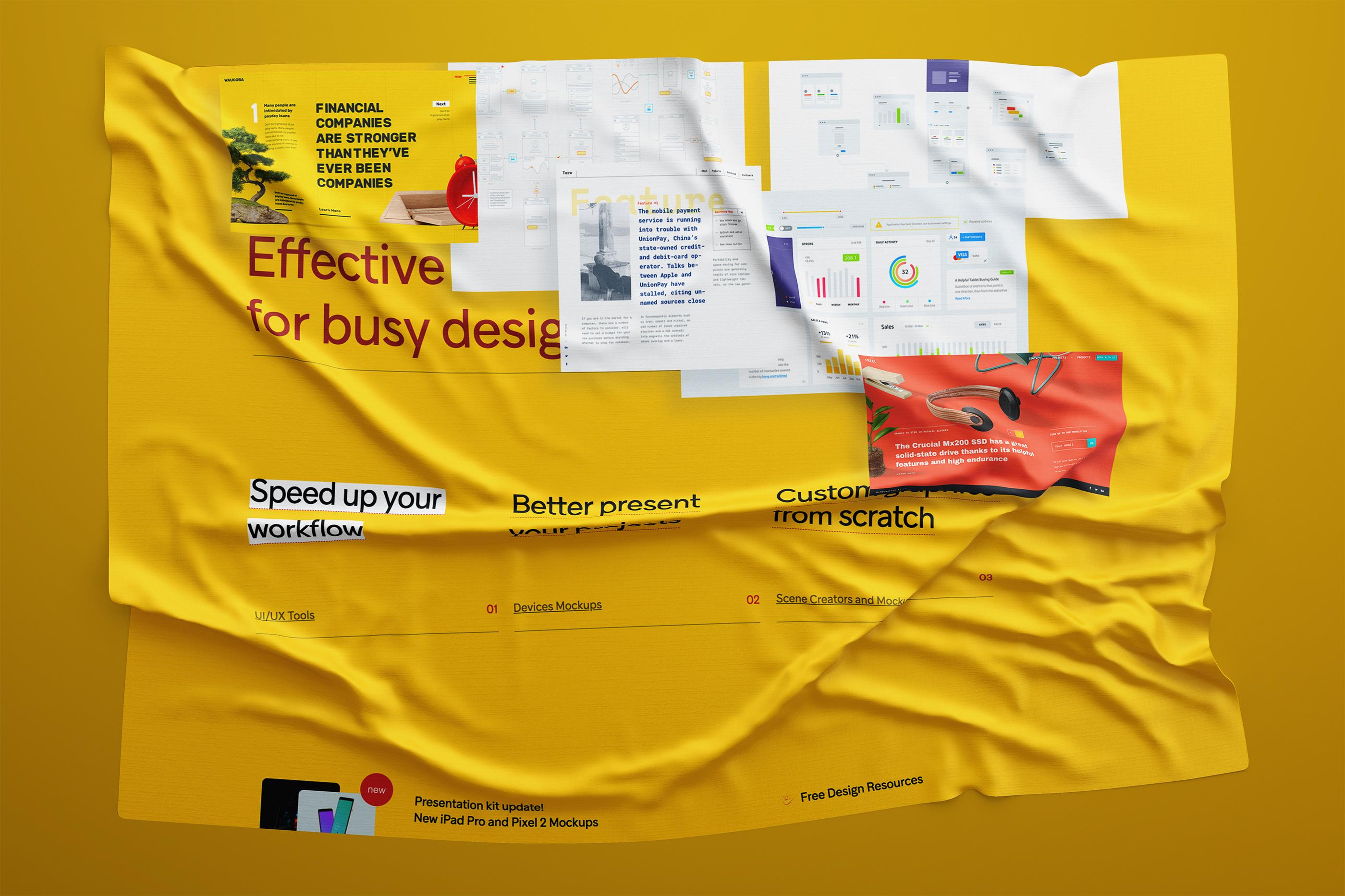 高保真褶皱纸张/界面包装模板,PSD源文件