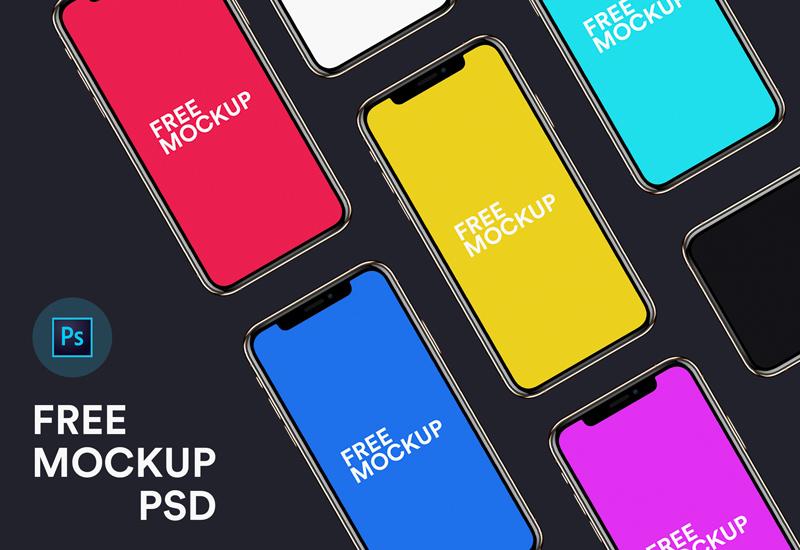 白色与黑色 iPhone XS 模板,免费PSD