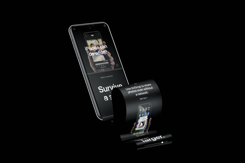 iPhone XS超长界面包装模板,Mockup,PSD
