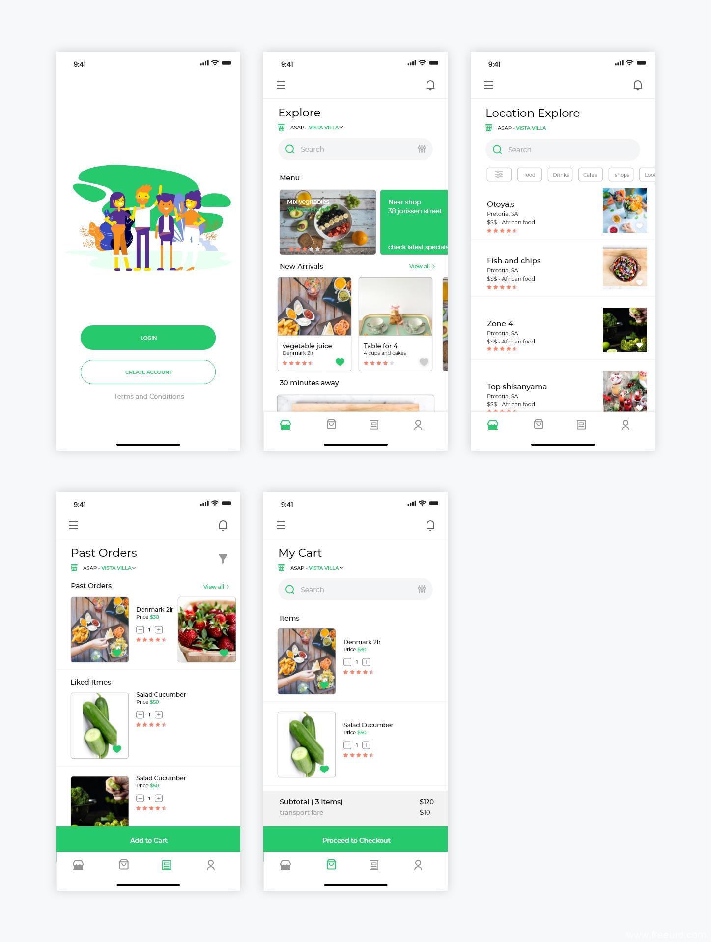 生鲜、外卖、点餐类APP UI模板下载,XD源文件