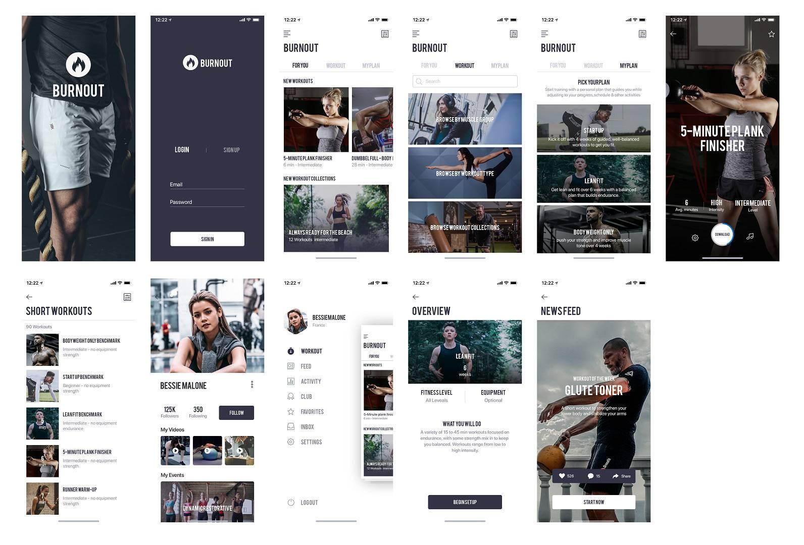 健身APP UI KIT源文件,健身UI资源下载,健身UI psd源文件下载