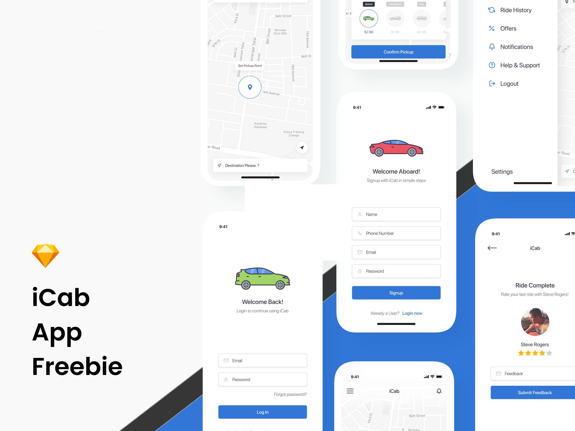 打车类app ui源文件下载,sketch源文件
