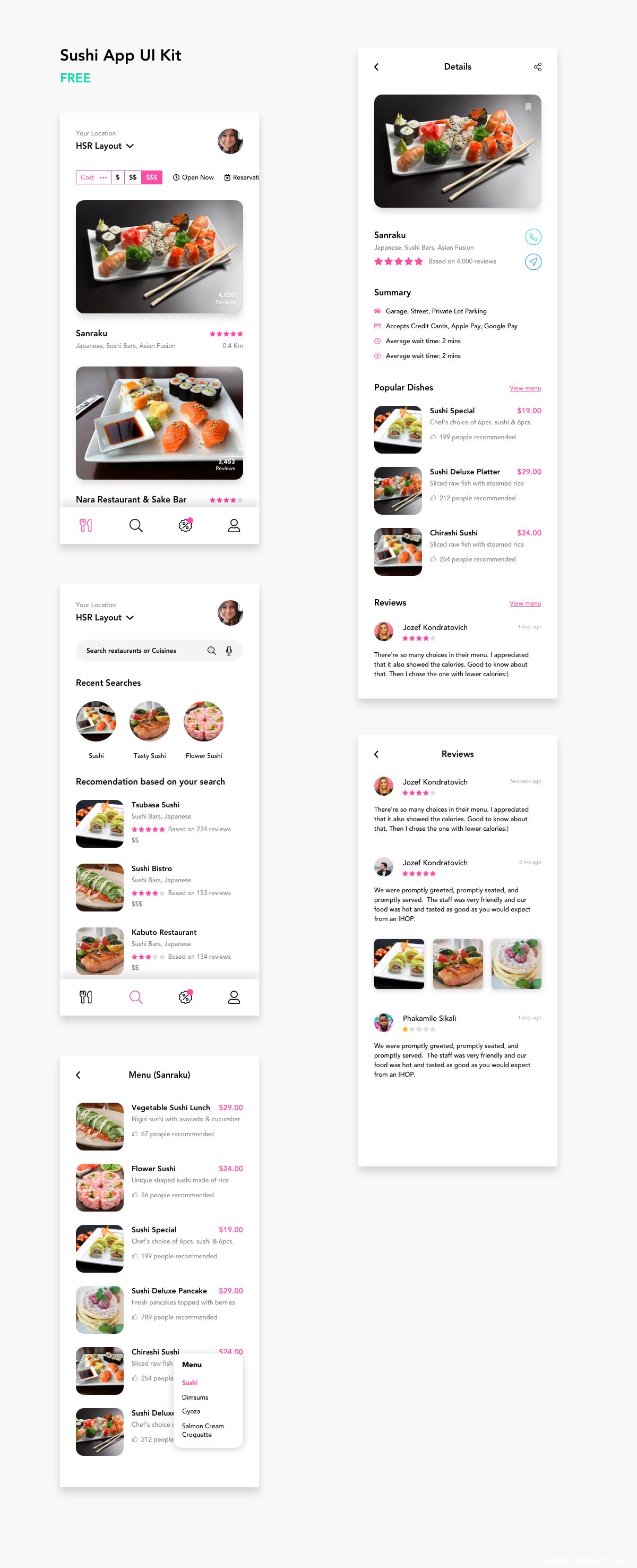 美食类APP UI模板,餐厅点餐类APP源文件,UI资源下载
