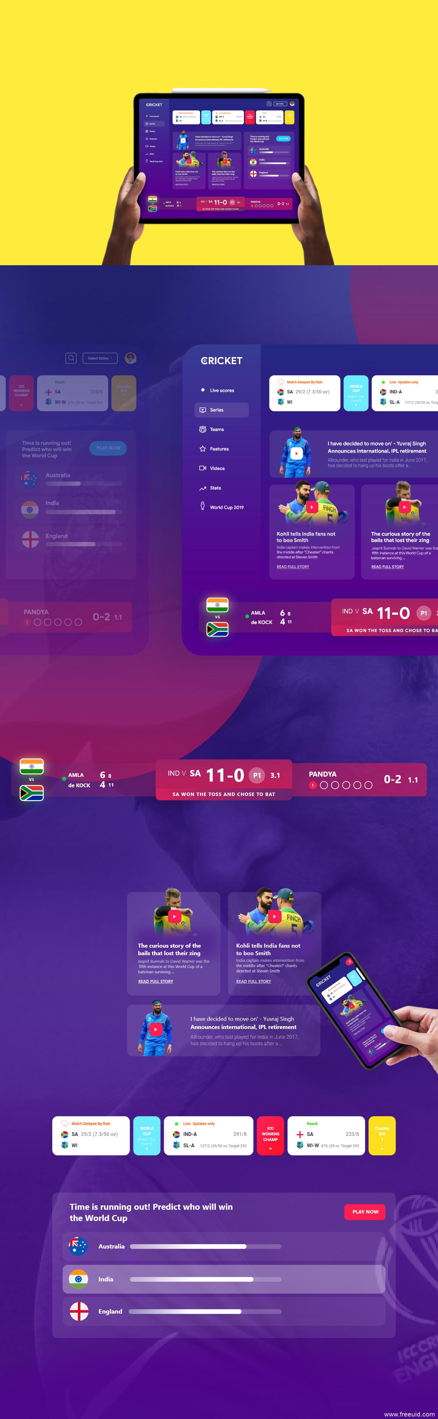 世界杯体育赛事UI kit源文件,UI素材下载,UI资源下载,xd源文件