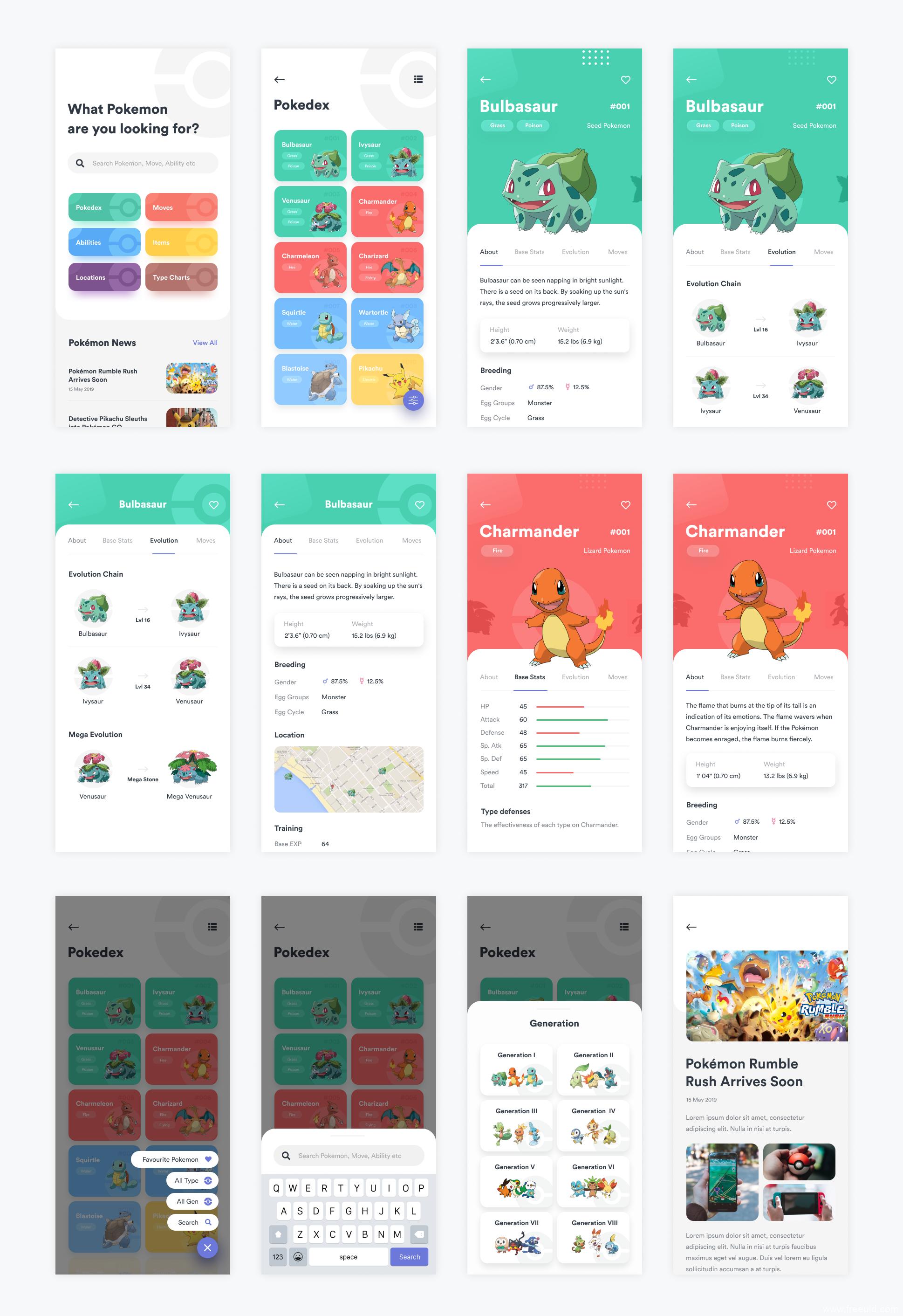 宠物精灵App模板,Pokedex App,figma源文件,UI源文件下载