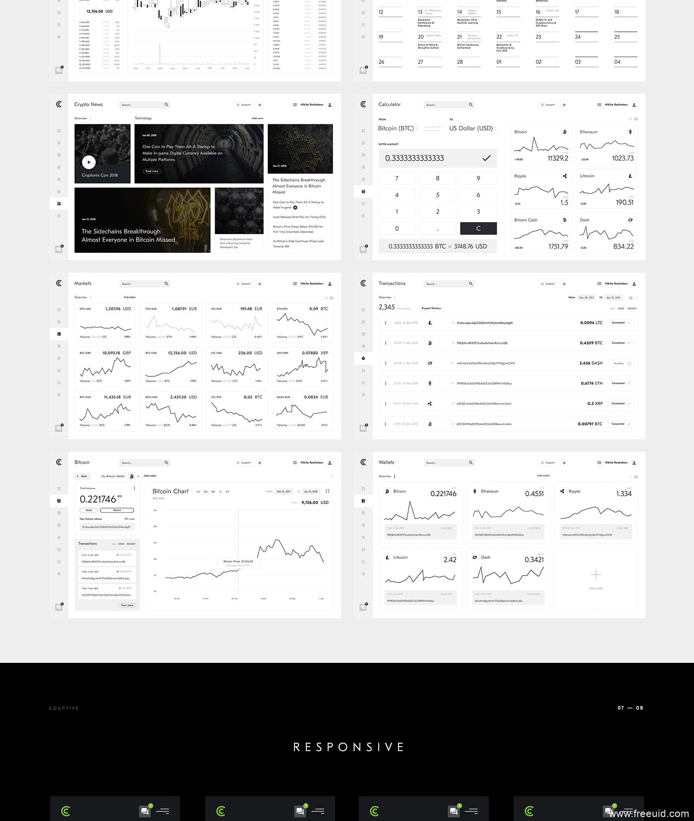 超全金融后台+移动端管理界面UIkit模板,暗色金融管理前台+后台+移动端UI源文件,sketch源文件