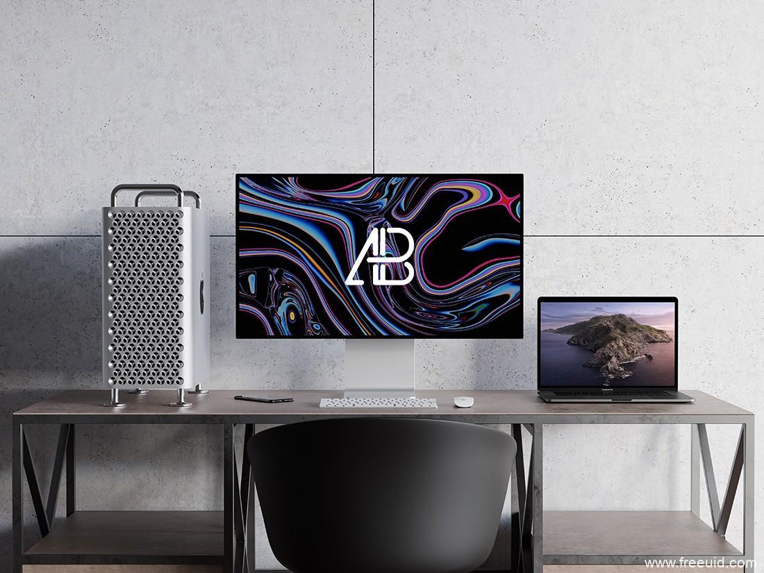 2019 Mac Pro和MacBook Pro样机展示模板,psd源文件