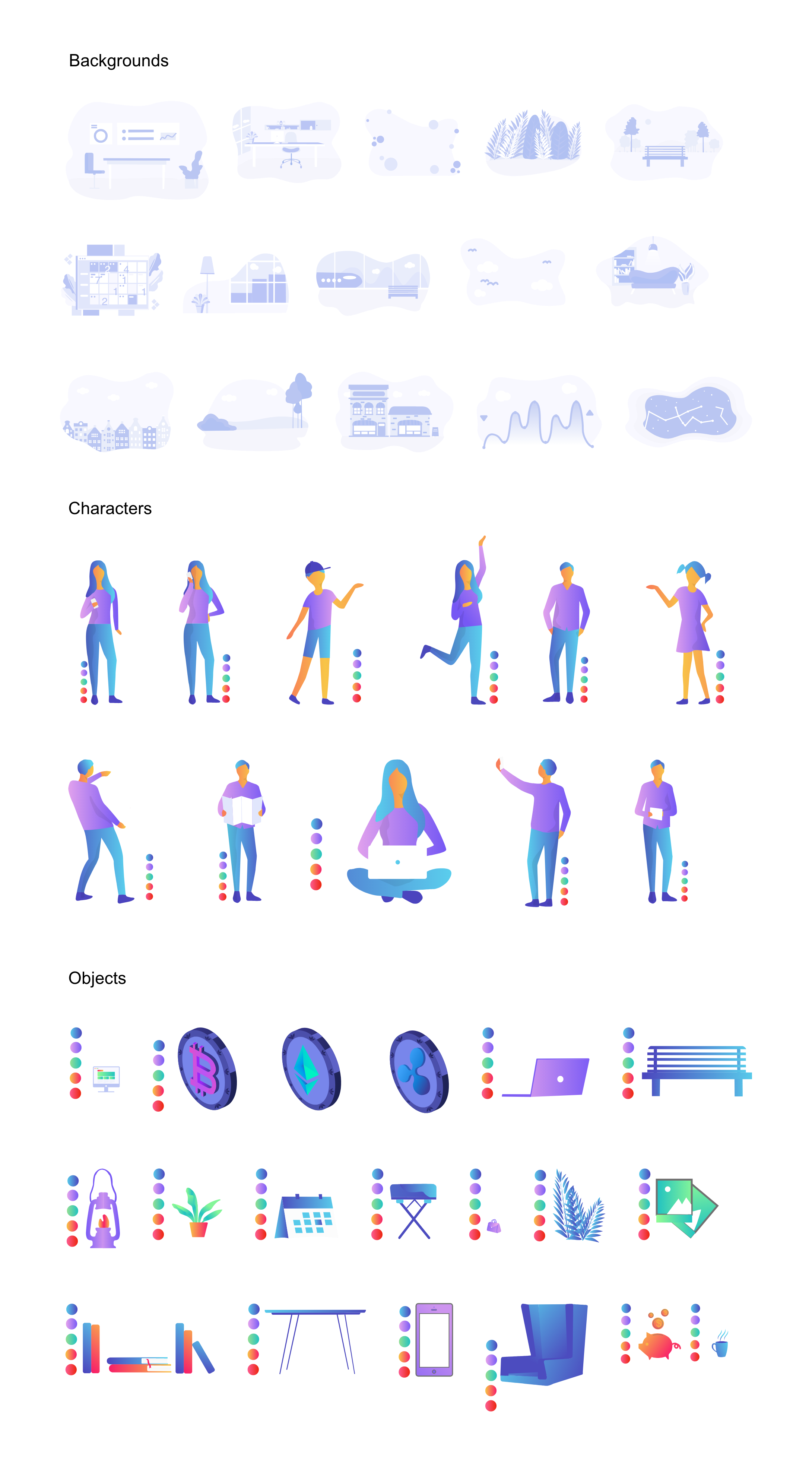 场景插画源文件,插画分层源文件,可以随意组合,UI插画,sketch源文件