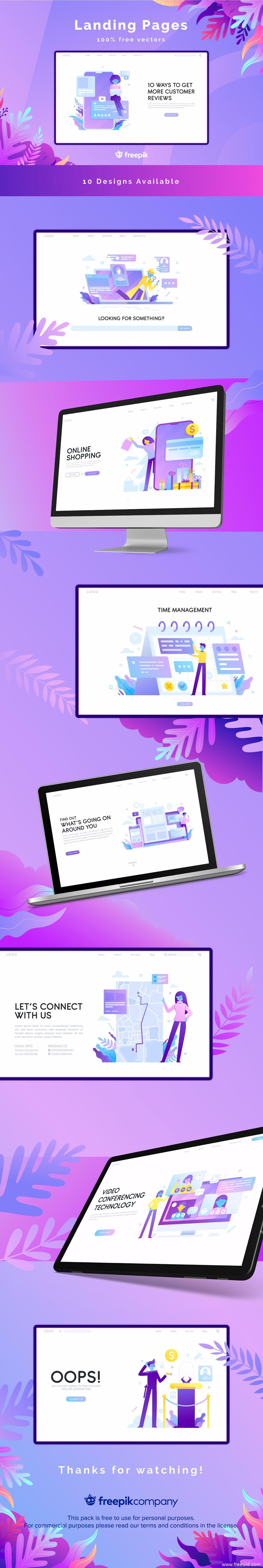 10张应用着陆页插画UI资源下载分享