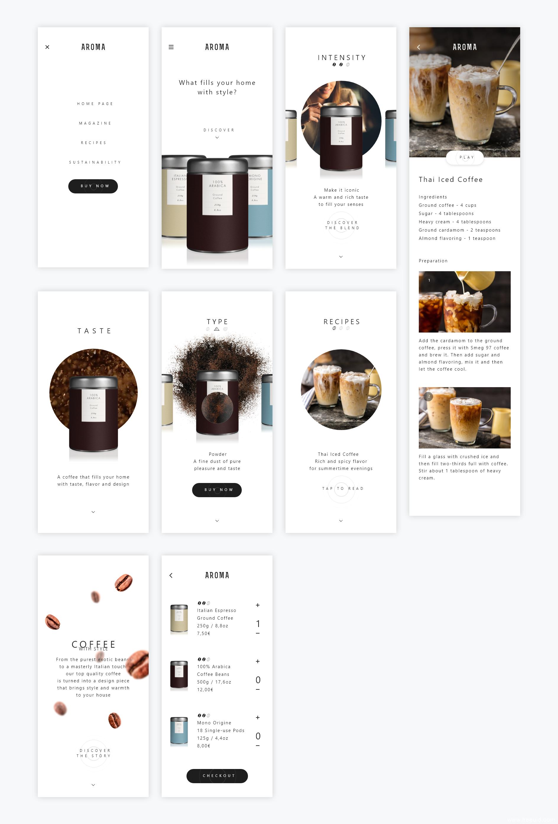 一套高端咖啡品牌电商UI素材源文件下载