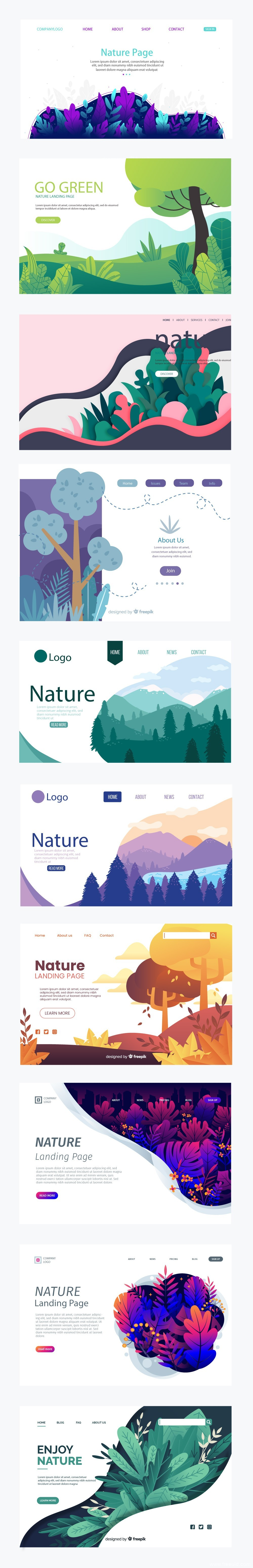 植物插画,自然风景插画web源文件,ai插画源文件下载