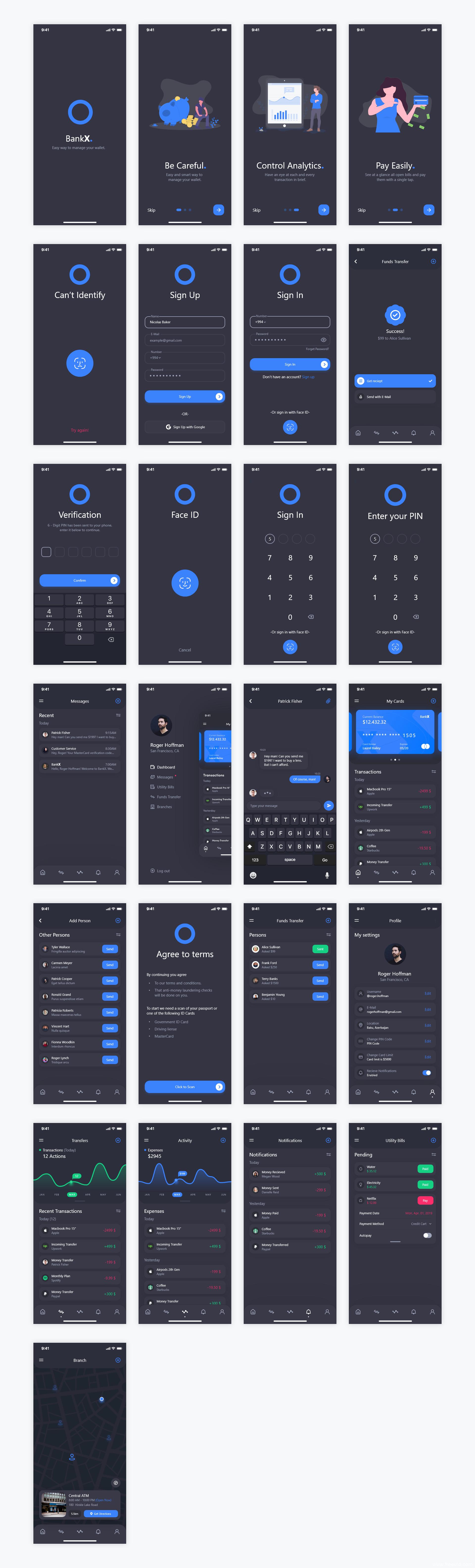 2个色彩主题 成套金融app ui bankX .xd素材下载