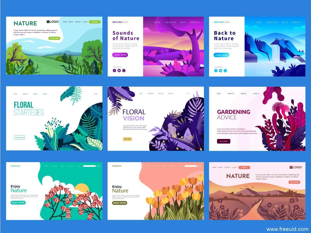 植物插画,自然风景插画web源文件,ai插画源文件下载(2)