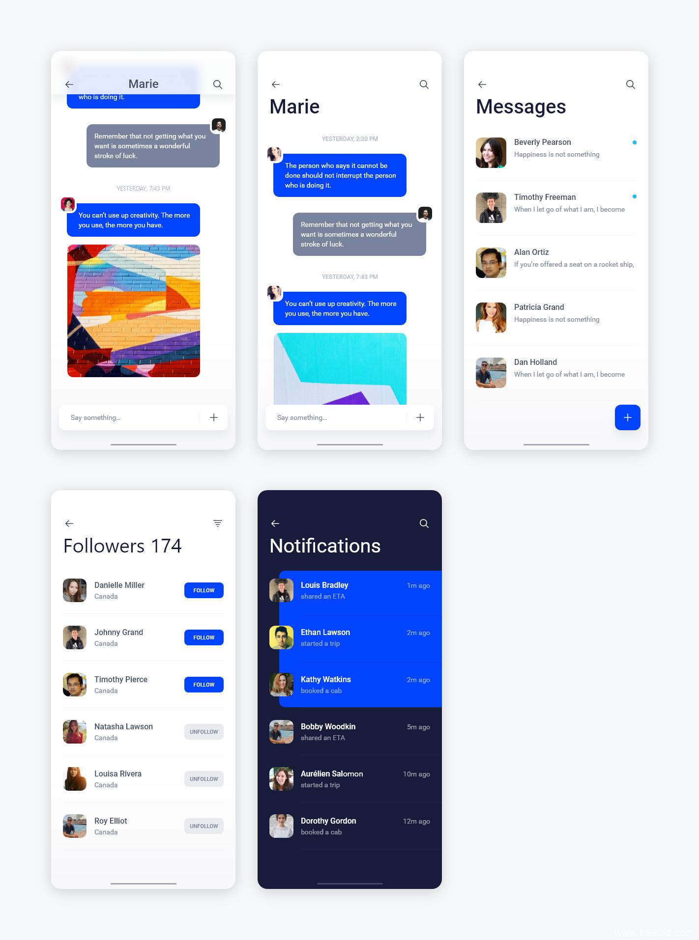 聊天、信息app ui .xd素材下载