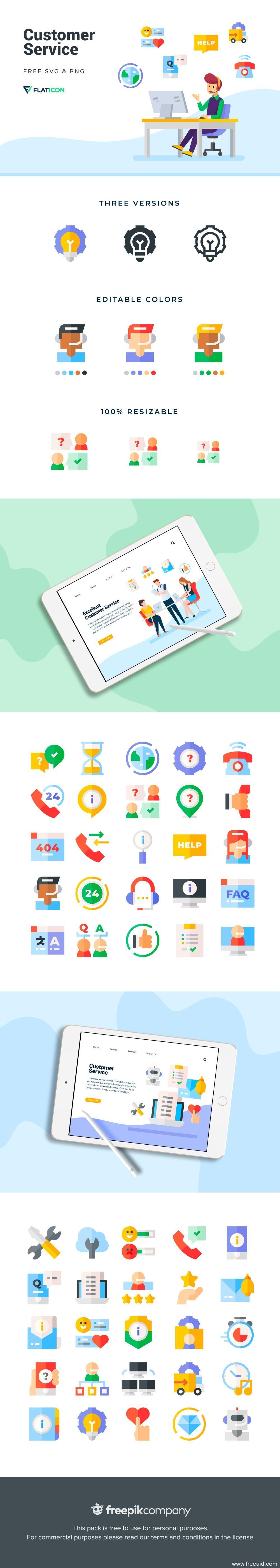 扁平化客户服务主题插画图标 .svg .png UI资源下载