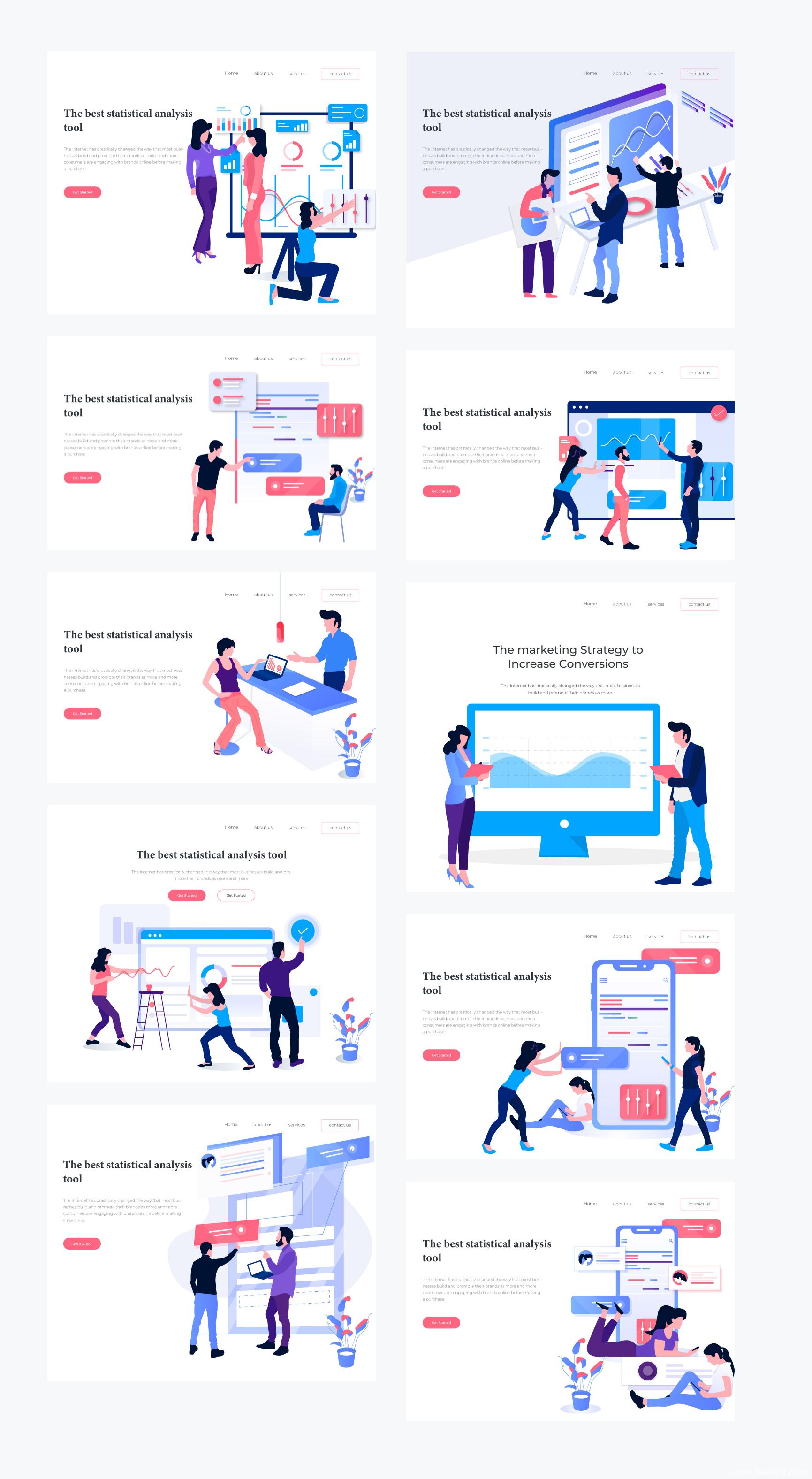 20个市场营销、创意设计主题插画 .ai .eps .svg源文件下载