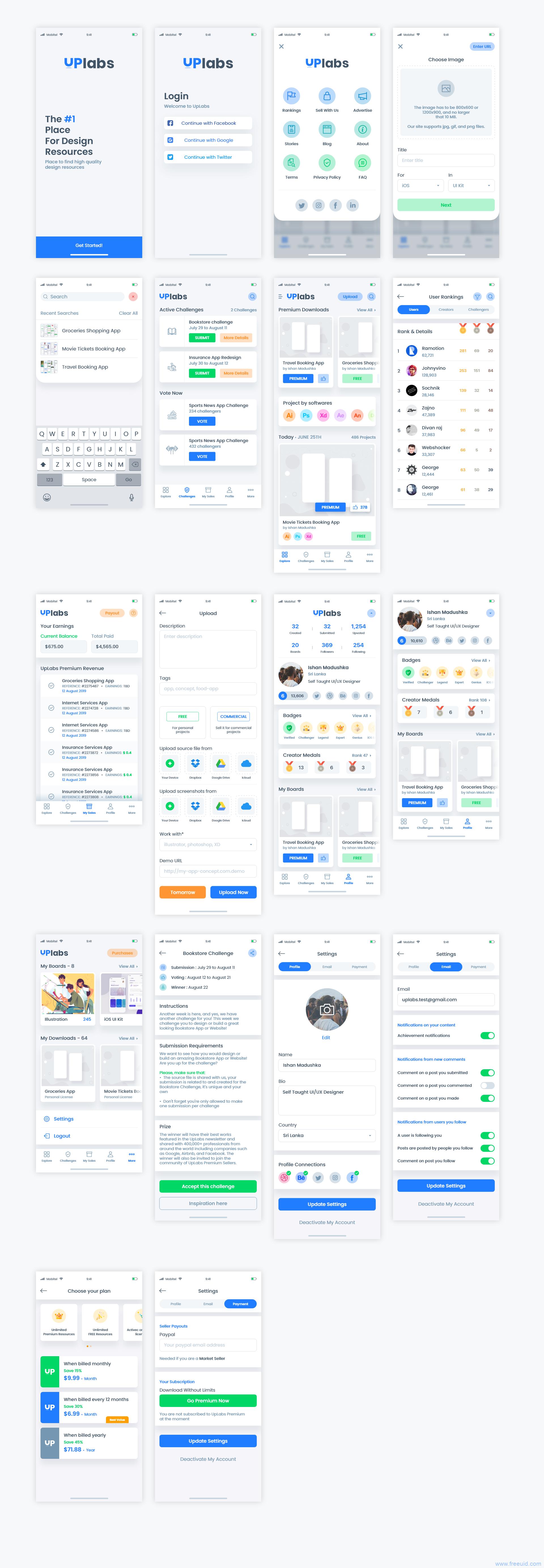 设计分享平台APP UI kit,UI素材下载,UI资源分享