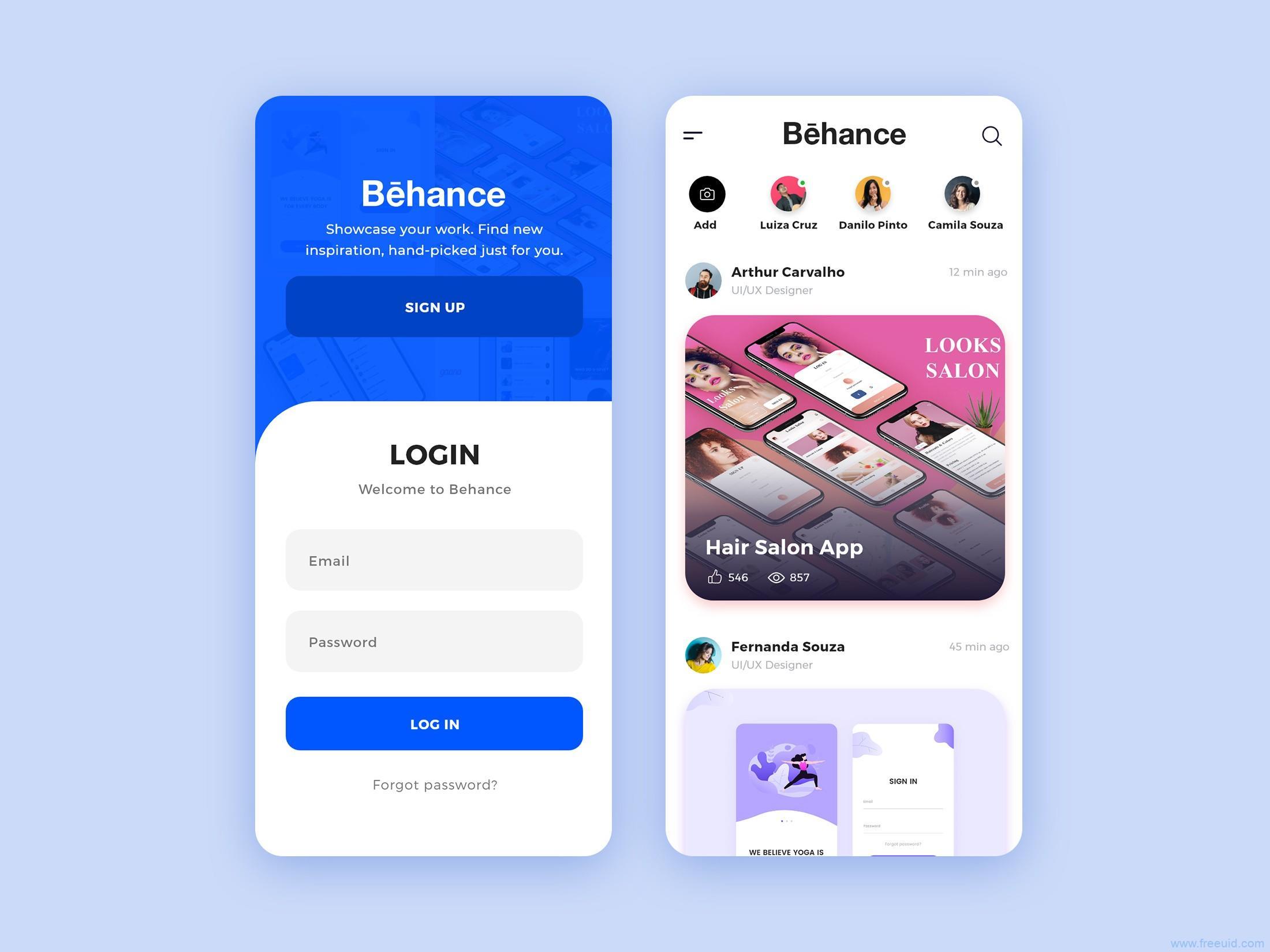 Behance app再设计,UI资源下载,UI素材分享,XD源文件
