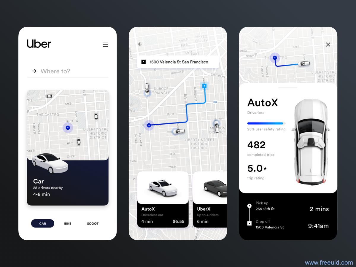 打车类APP仿Uber UI素材源文件下载