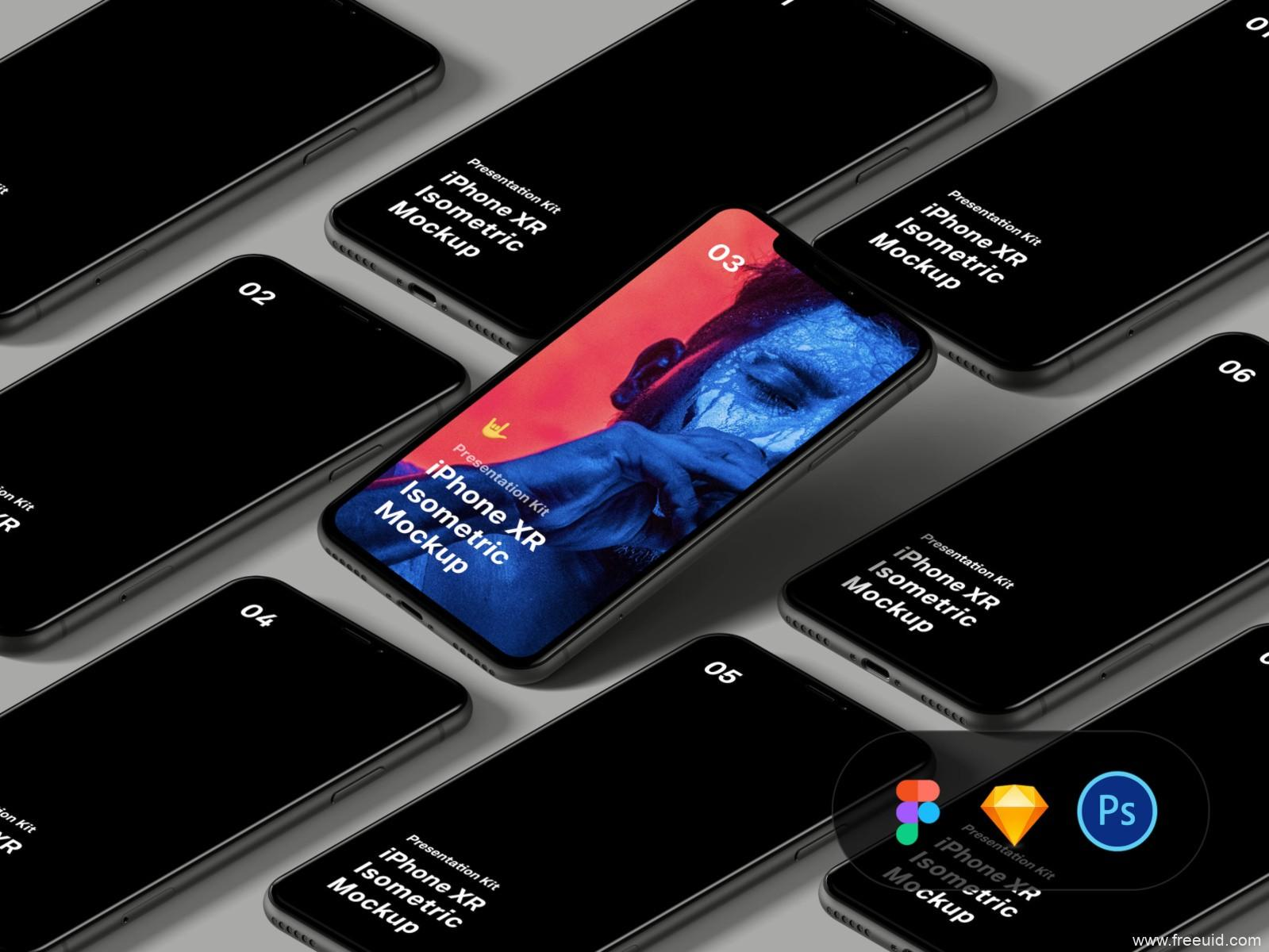 iPhone XR Isometric Mockup 样机 .fig .psd .sketch素材下载