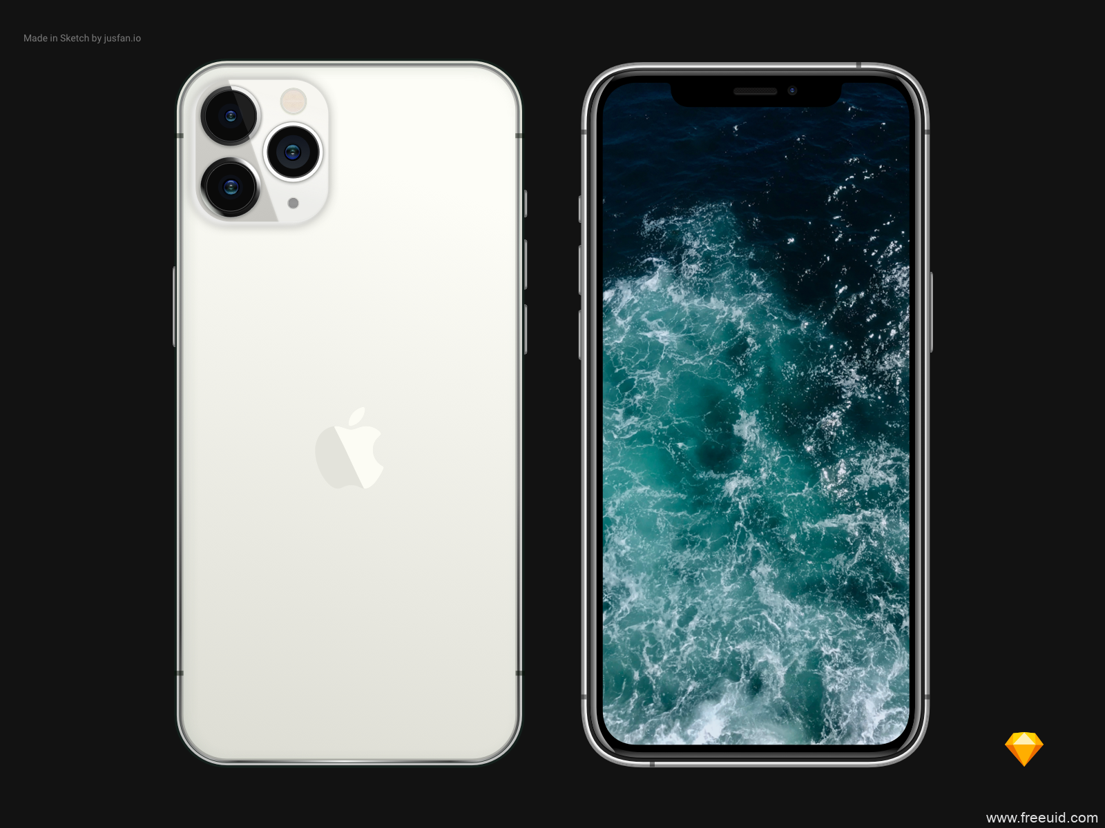 银色iPhone 11 pro mockup .sketch素材下载