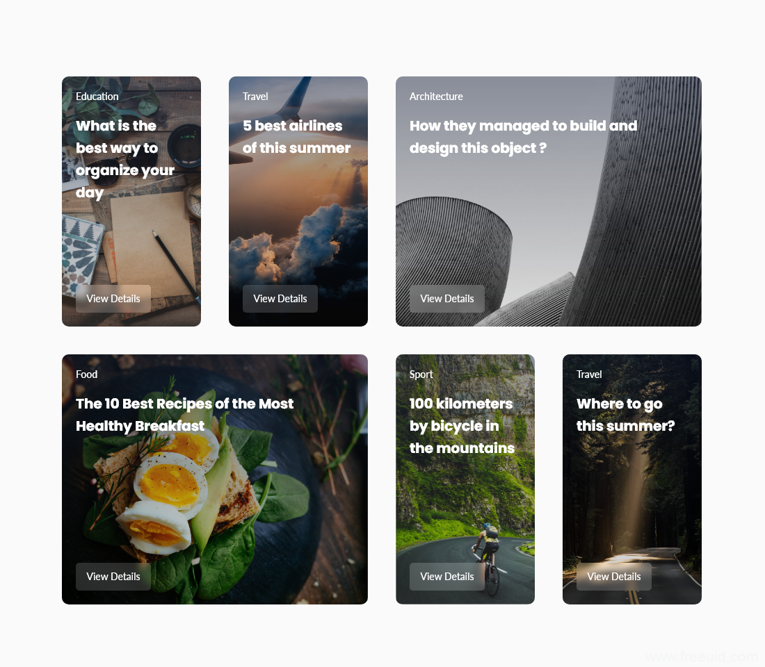 各种feed流卡片模板,ui card 卡片设计模板 .xd素材下载