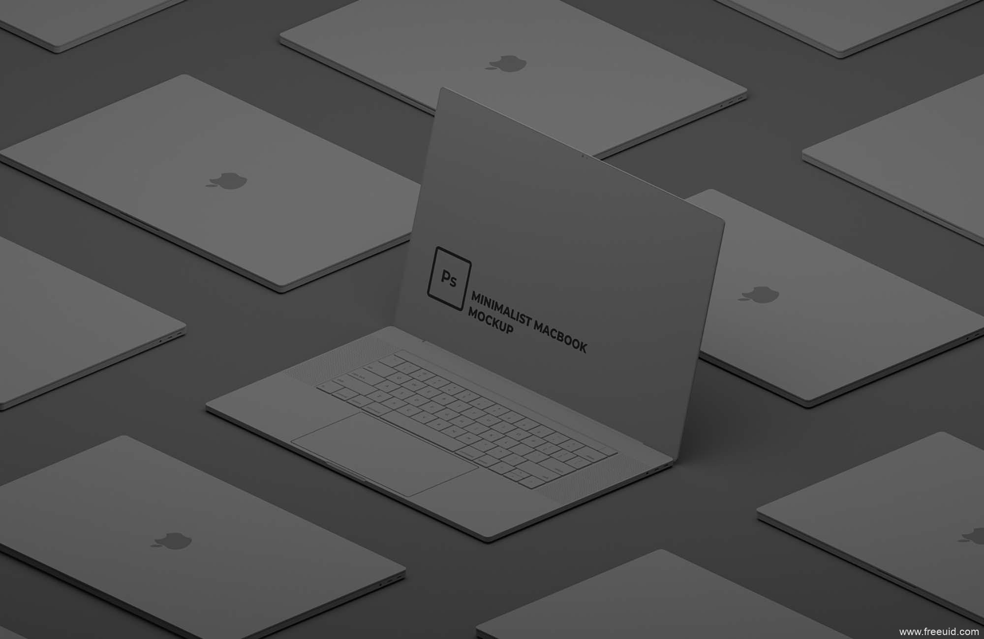 精品极简主义Macbook样机(PSD)