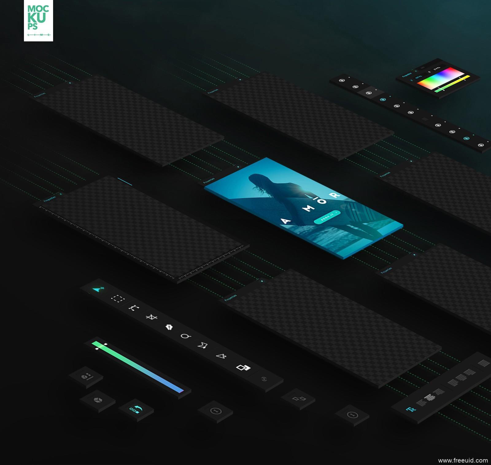 高端UI产品包装模板,UI mockup,UI资源下载,UI素材分享