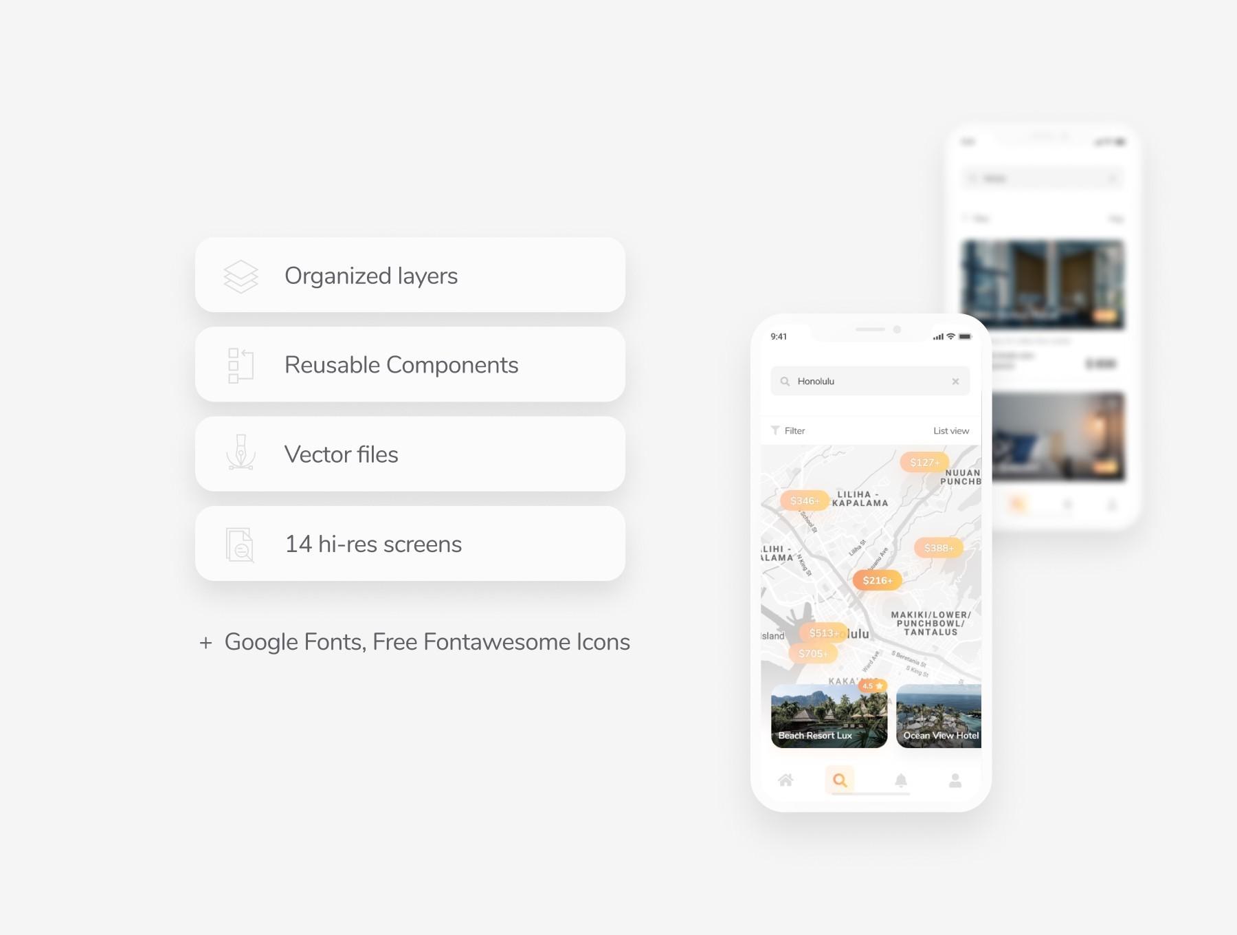 高大上酒店类APP UI kit模板免费下载,免费UI资源下载,figma源文件下载