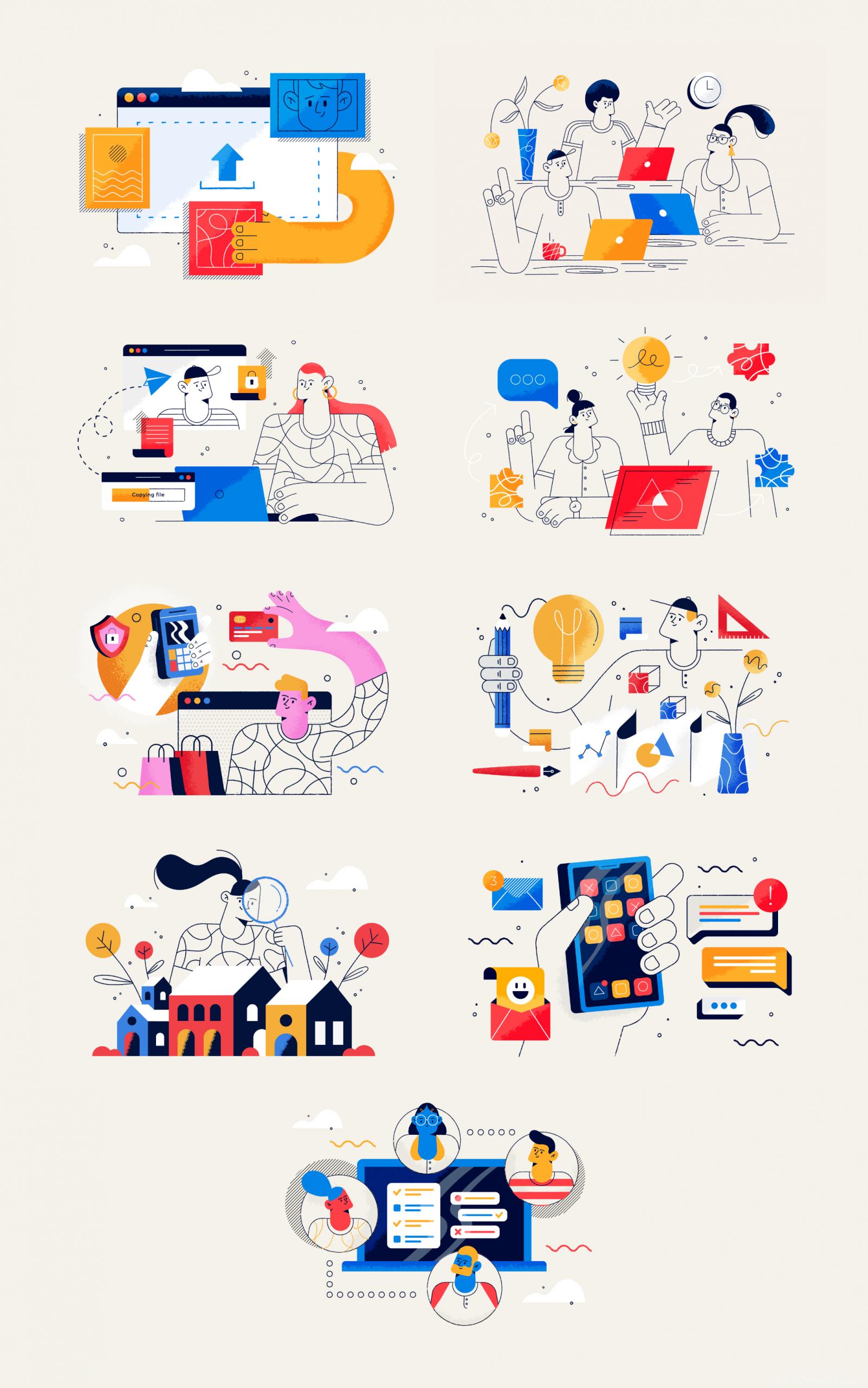 Doodles涂鸦风格商务插画 .eps .ai素材下载