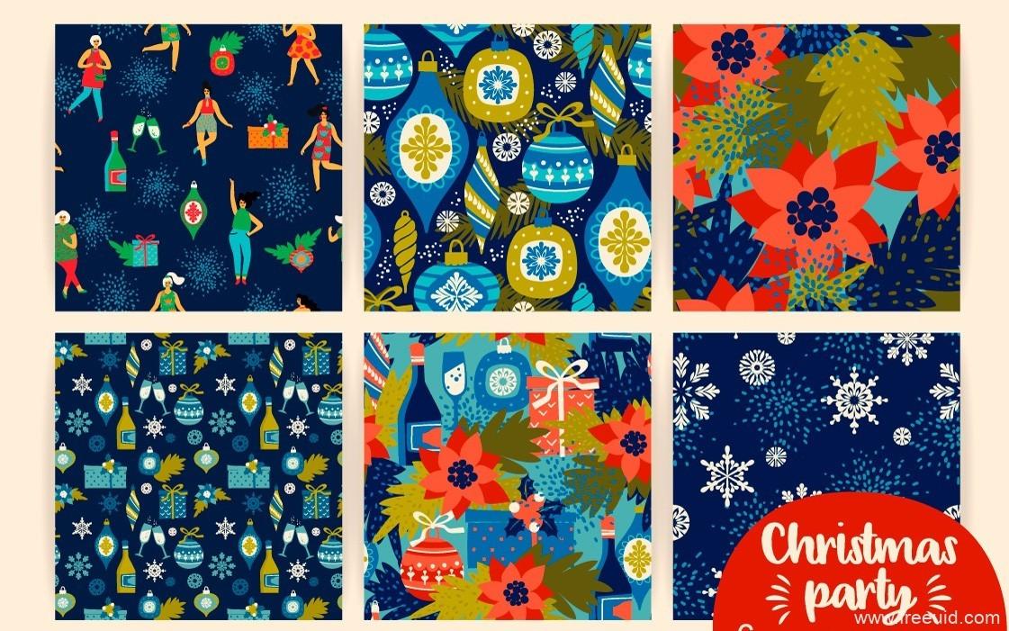 圣诞节主题矢量插画、贺卡、图形素材集 .eps素材下载