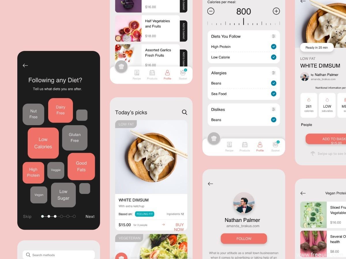 美食app,食谱app UI KIT UI源文件下载,美食app sketch源文件下载