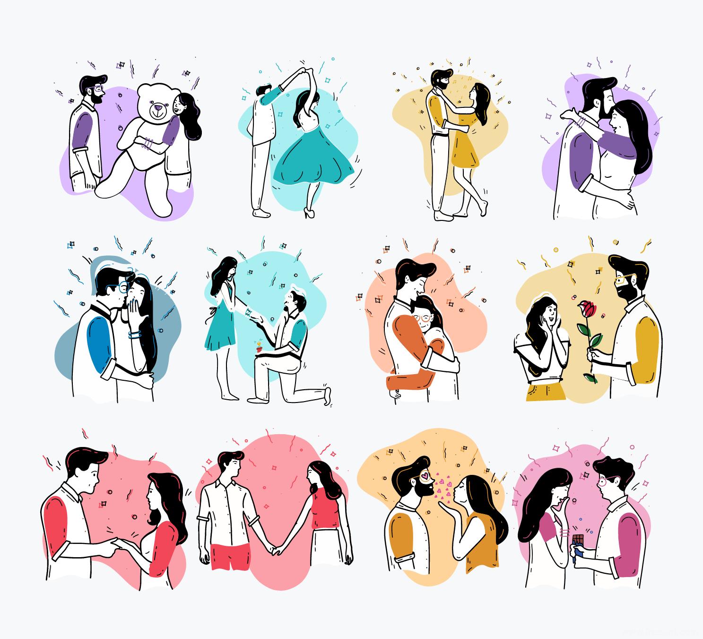 情人节场景矢量SVG插画源文件下载