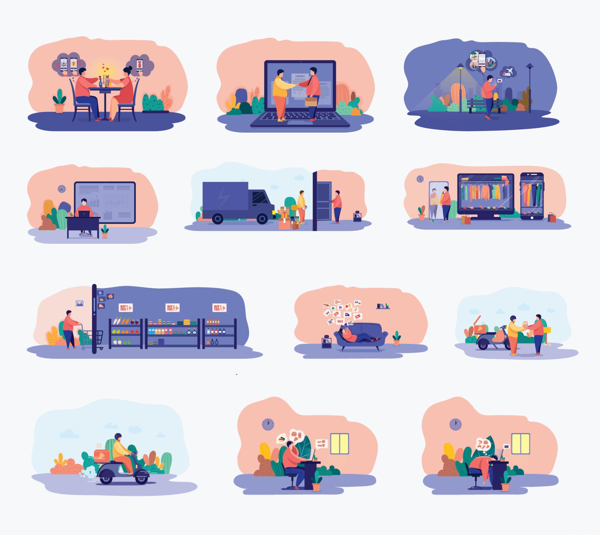 12个电商运营插画设计Ai源文件下载