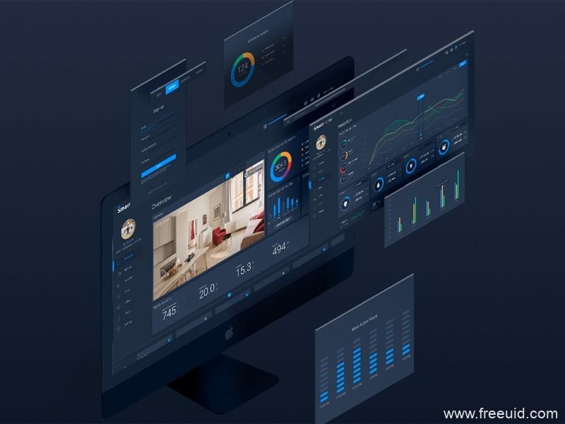 数字智能家庭后台管理页面模板,Smart home Dashboard UI源文件下载