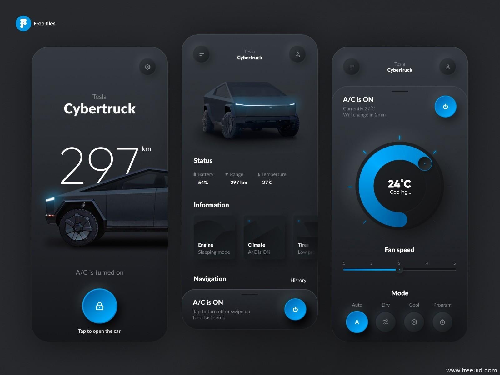 特斯拉 移动UI kit源文件下载,Neumorphic新拟物风Tesla卡车控制app UI ,fig源文件下载
