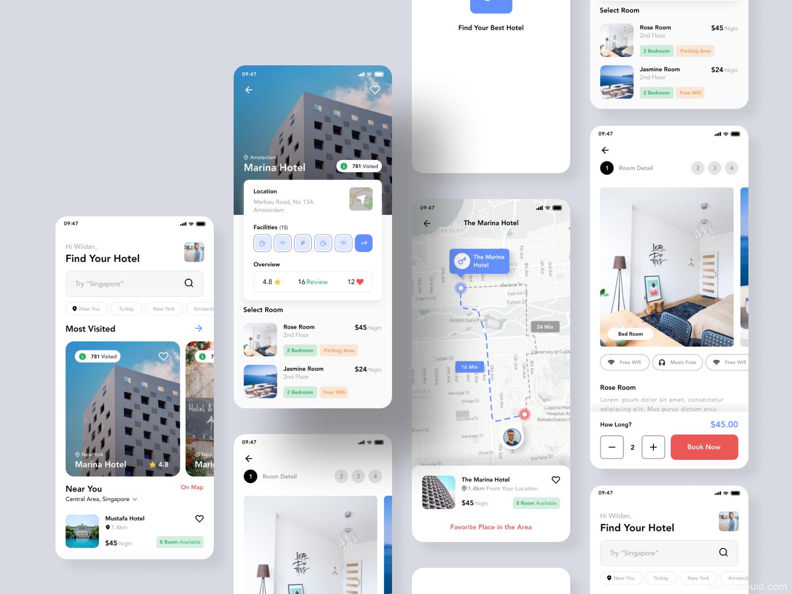高端酒店预定app UI kit 整套figma源文件下载,UI资源下载,figma UI素材下载