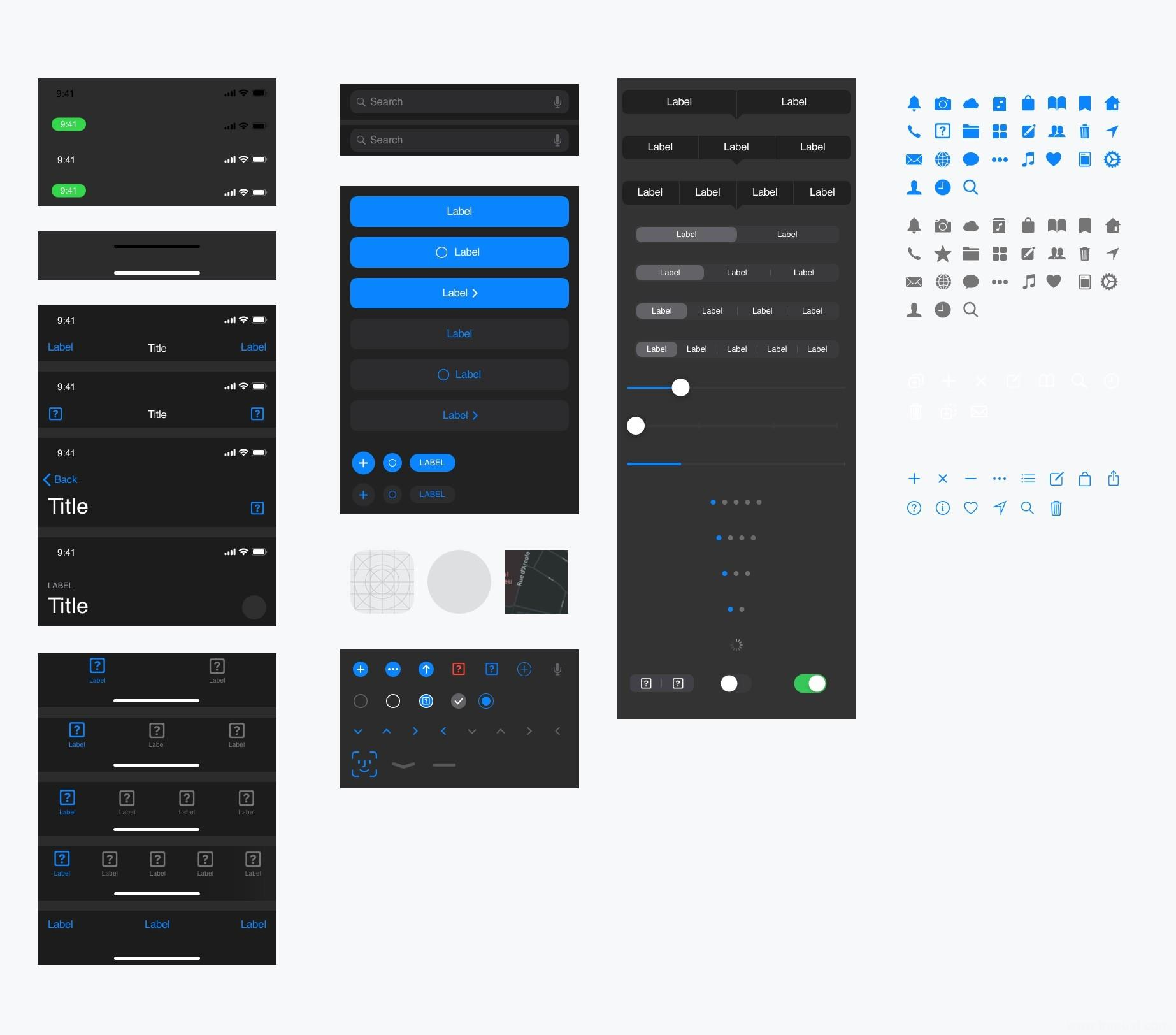 iOS13暗黑模式全套UI kit资源下载,iOS13 dark mode暗黑模式sketch源文件下载