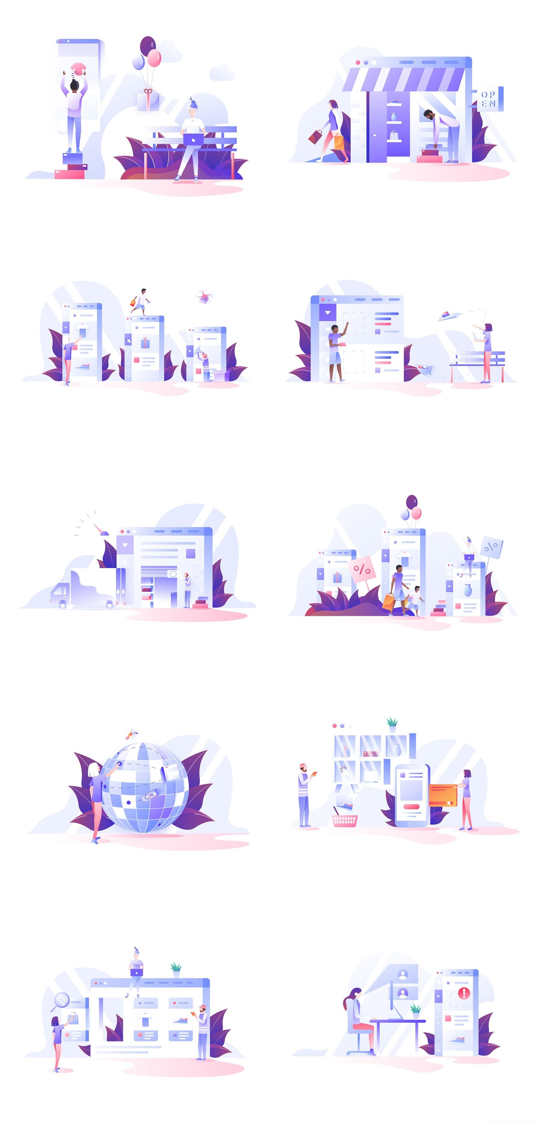 10 张亮色电商插画,电商插画sketch源文件下载