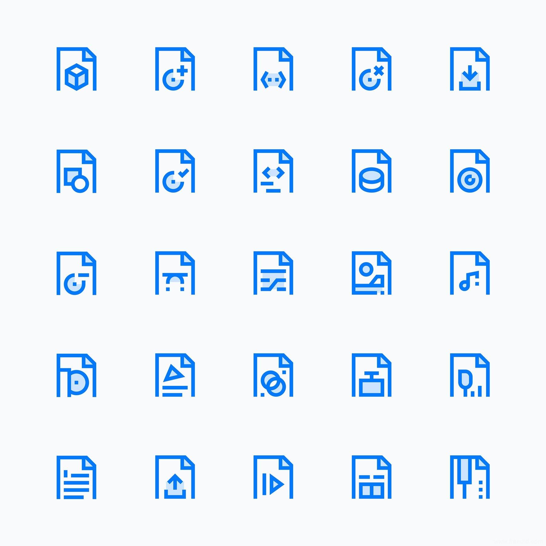 25 枚简约文件类型图标
