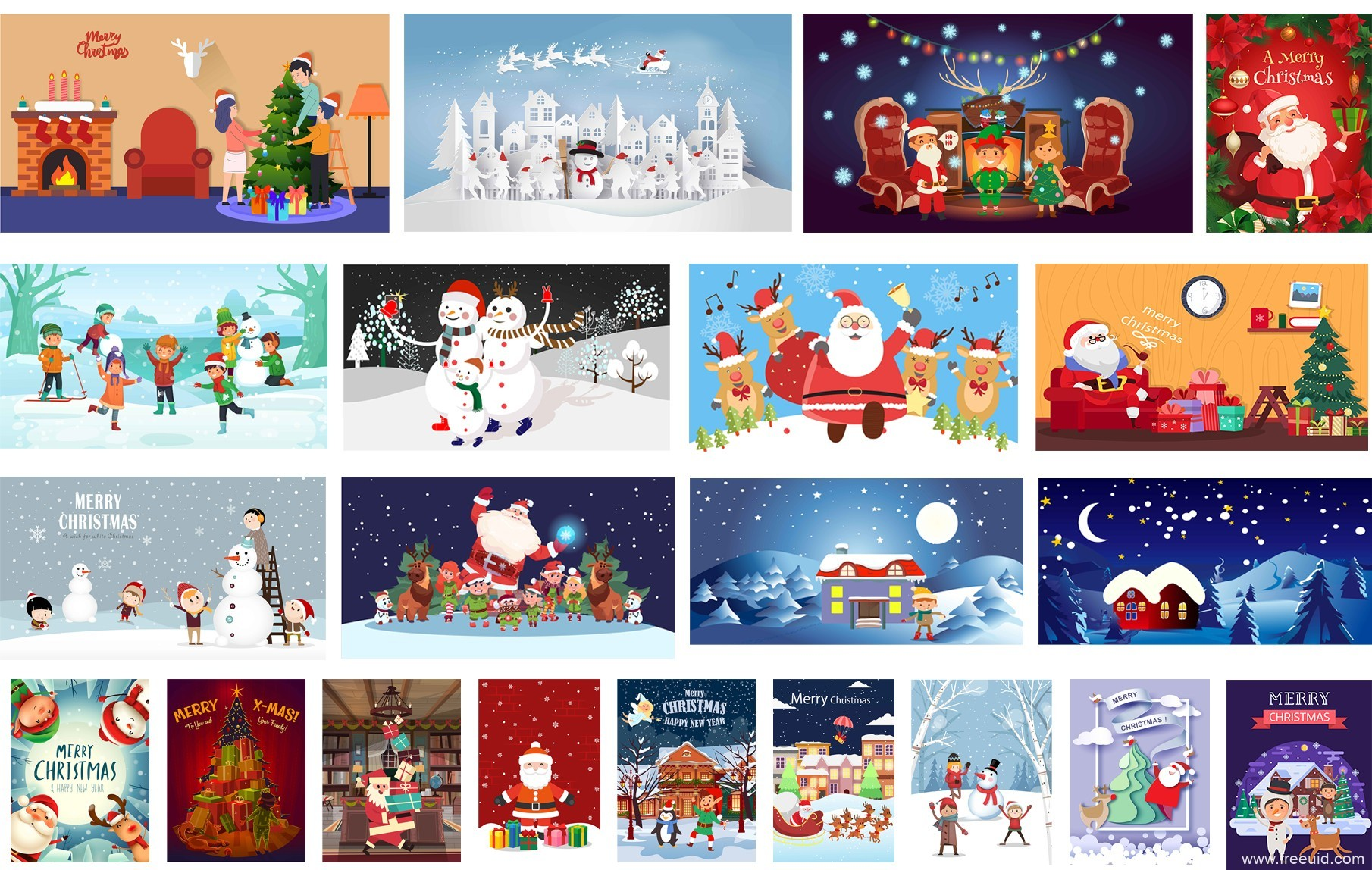 圣诞+新年+节庆近100款设计AI+PSD源文件下载