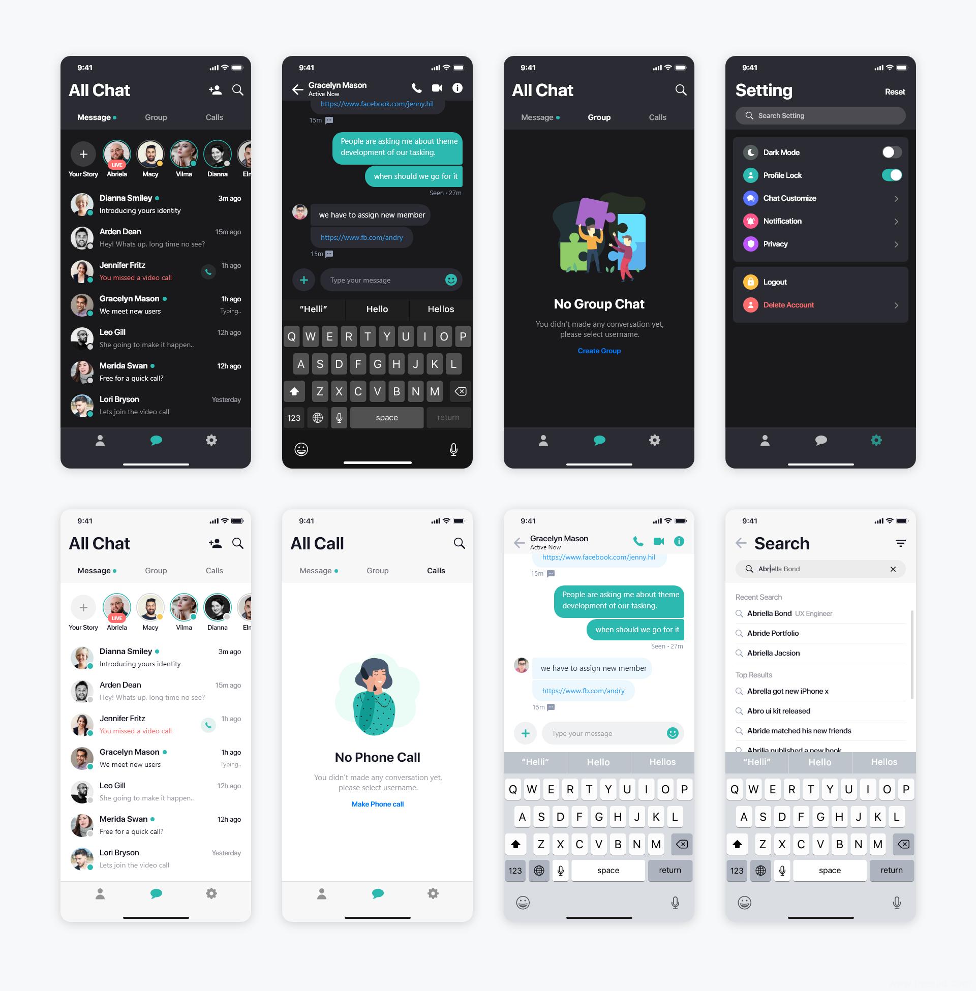 亮暗双模式聊天App UI源文件下载,社交聊天UI sketch源文件下载